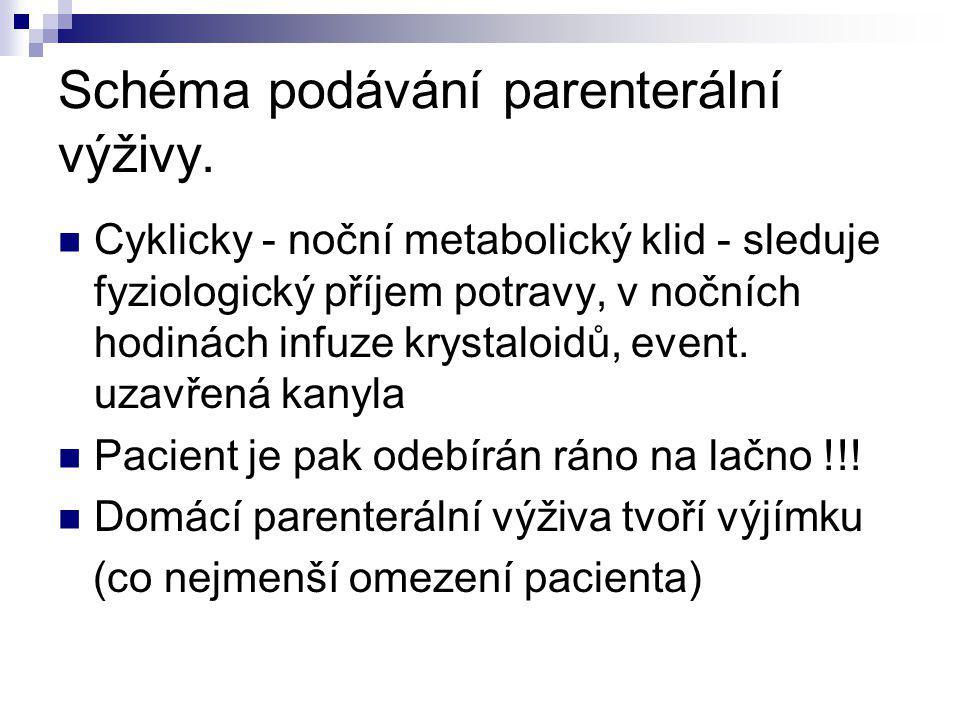 Schéma podávání parenterální výživy.