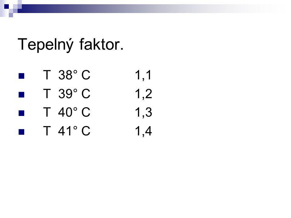 Tepelný faktor. T 38° C 1,1. T 39° C 1,2.
