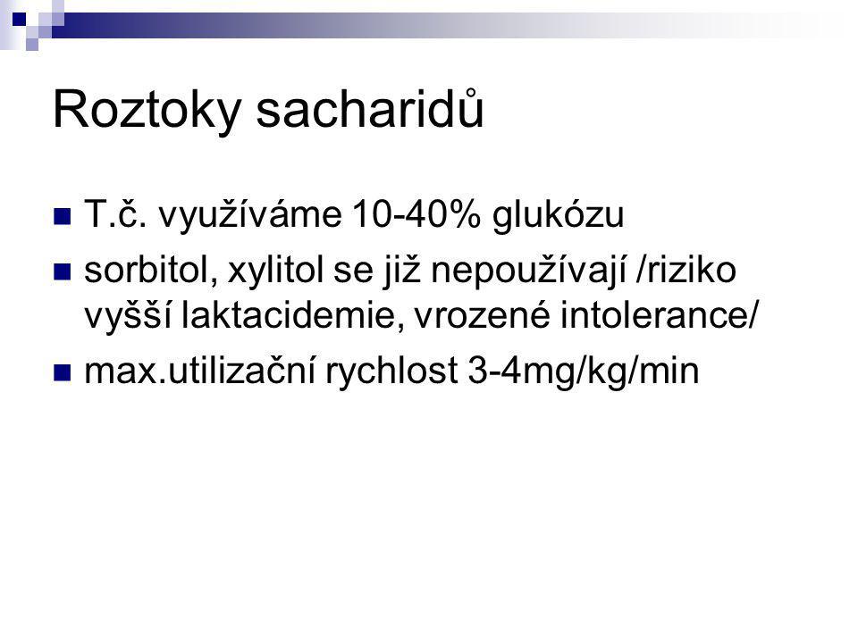Roztoky sacharidů T.č. využíváme 10-40% glukózu