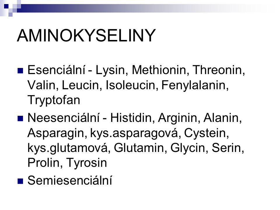 AMINOKYSELINY Esenciální - Lysin, Methionin, Threonin, Valin, Leucin, Isoleucin, Fenylalanin, Tryptofan.