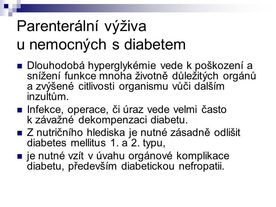 Parenterální výživa u nemocných s diabetem