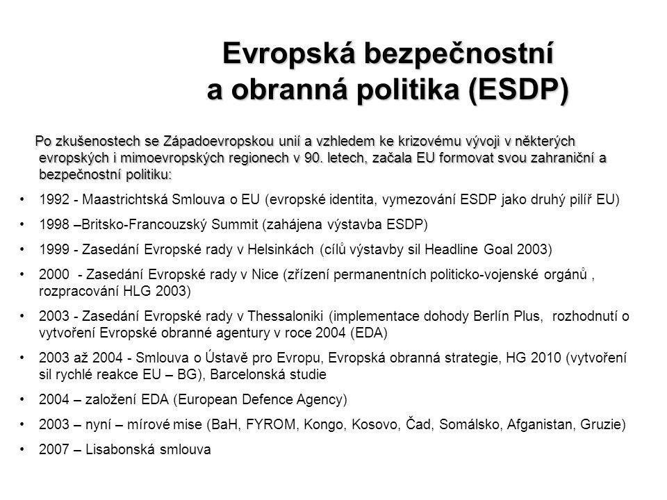 Evropská bezpečnostní a obranná politika (ESDP)