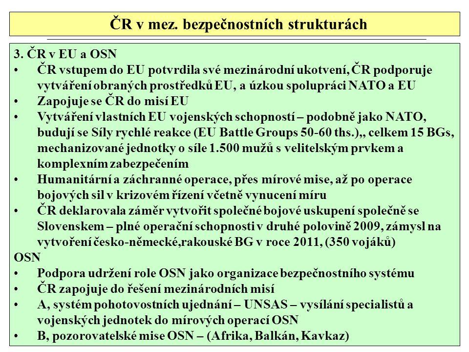 ČR v mez. bezpečnostních strukturách