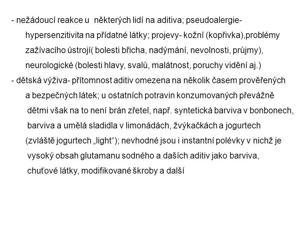 nežádoucí reakce u některých lidí na aditiva; pseudoalergie-