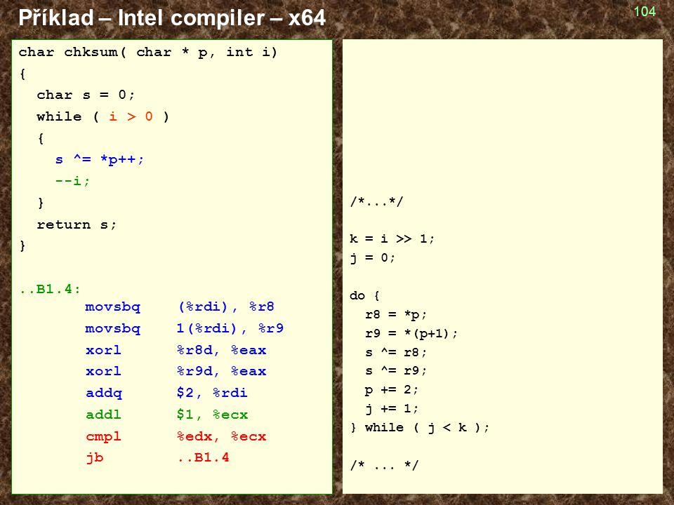 Příklad – Intel compiler – x64