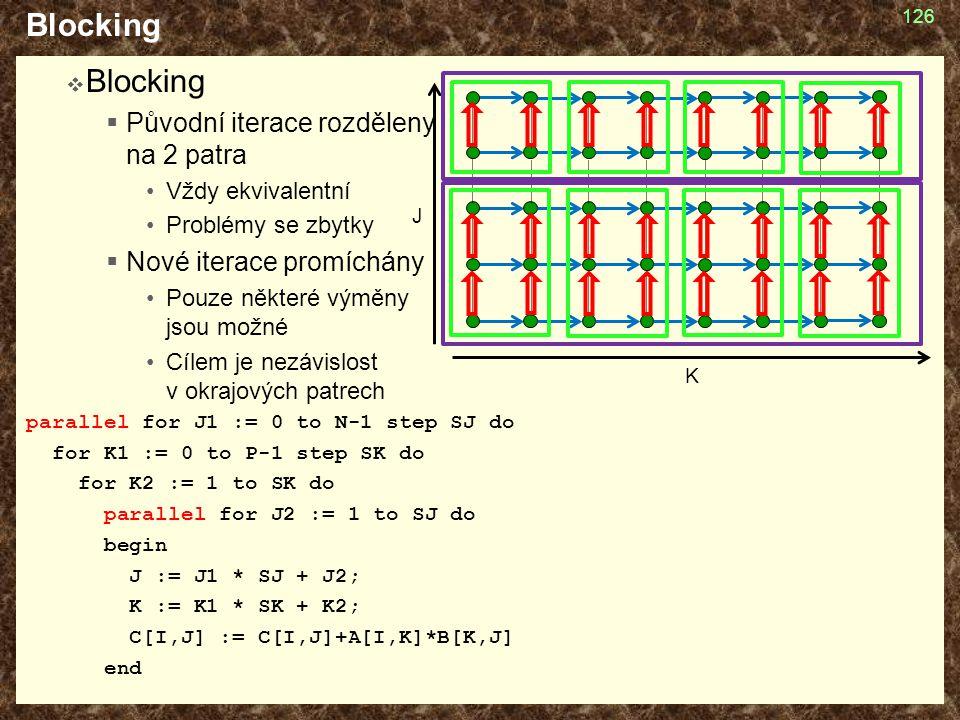 Blocking Blocking Původní iterace rozděleny na 2 patra