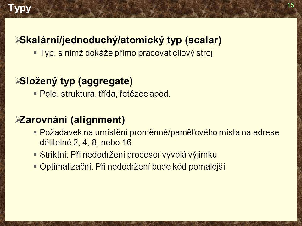 Skalární/jednoduchý/atomický typ (scalar)
