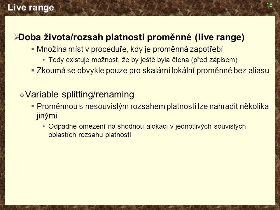 Doba života/rozsah platnosti proměnné (live range)