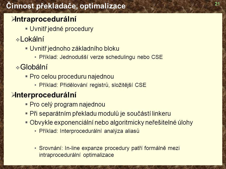 Činnost překladače, optimalizace