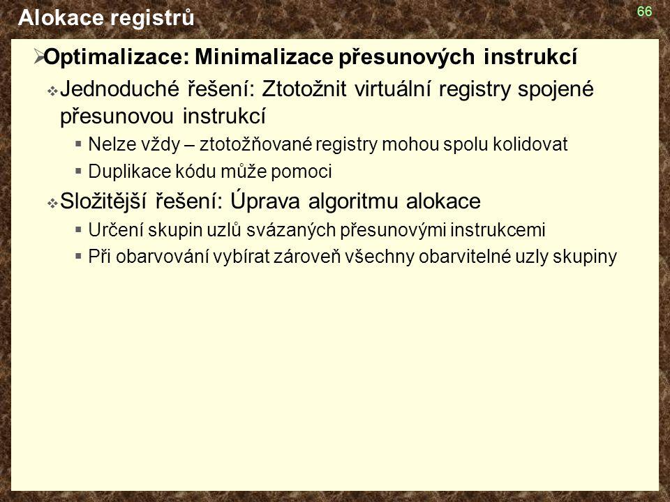 Optimalizace: Minimalizace přesunových instrukcí