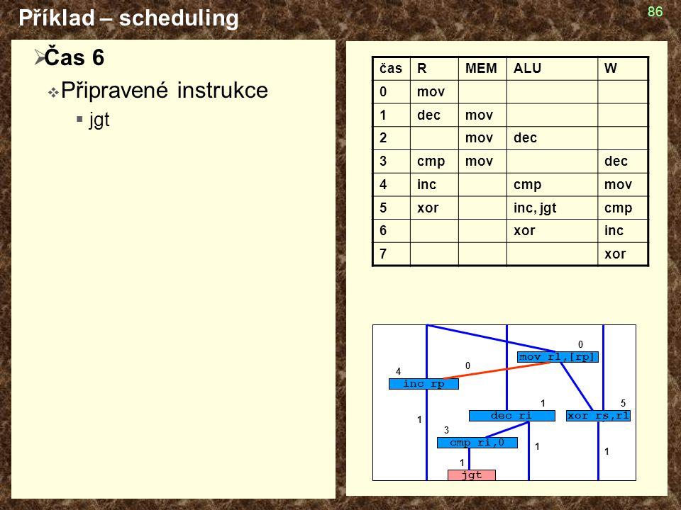 Příklad – scheduling Čas 6 Připravené instrukce jgt čas R MEM ALU W