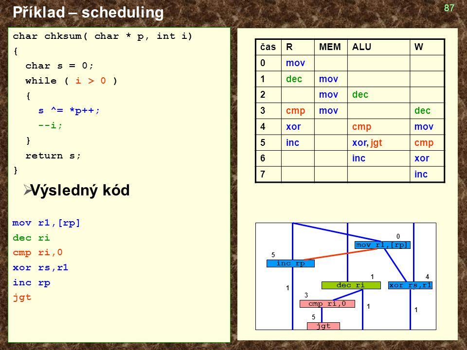 Příklad – scheduling Výsledný kód char chksum( char * p, int i) {