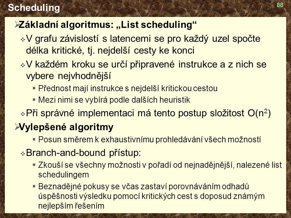 """Základní algoritmus: """"List scheduling"""