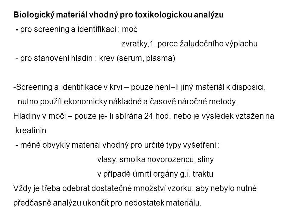 Biologický materiál vhodný pro toxikologickou analýzu