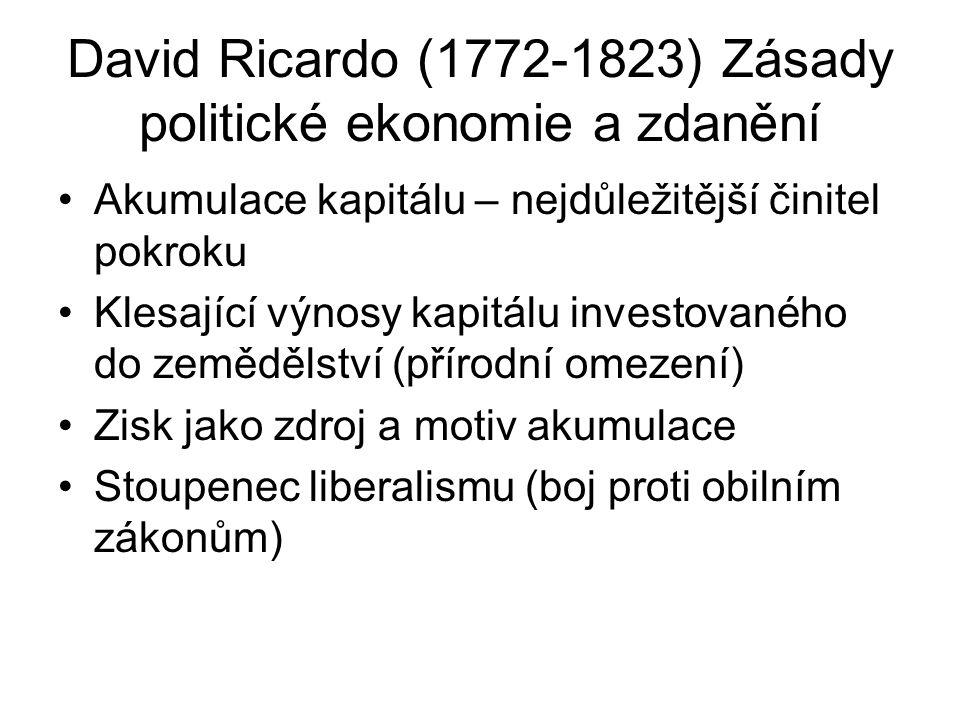 David Ricardo (1772-1823) Zásady politické ekonomie a zdanění