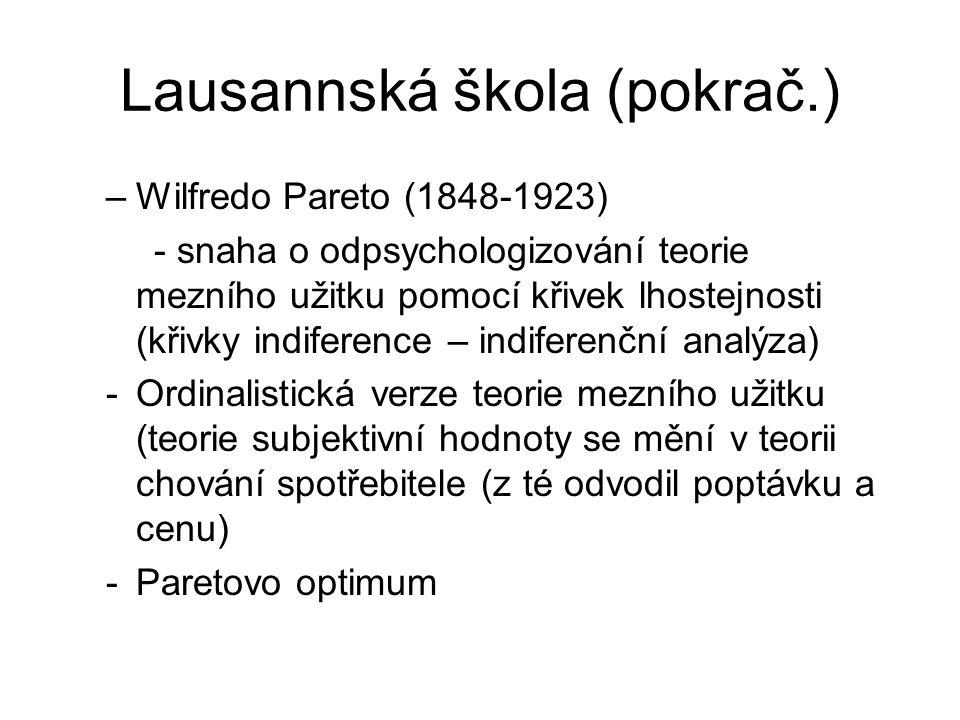 Lausannská škola (pokrač.)