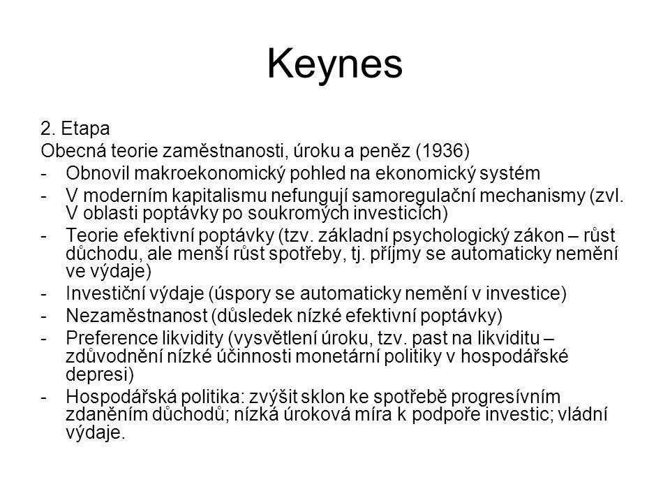 Keynes 2. Etapa Obecná teorie zaměstnanosti, úroku a peněz (1936)