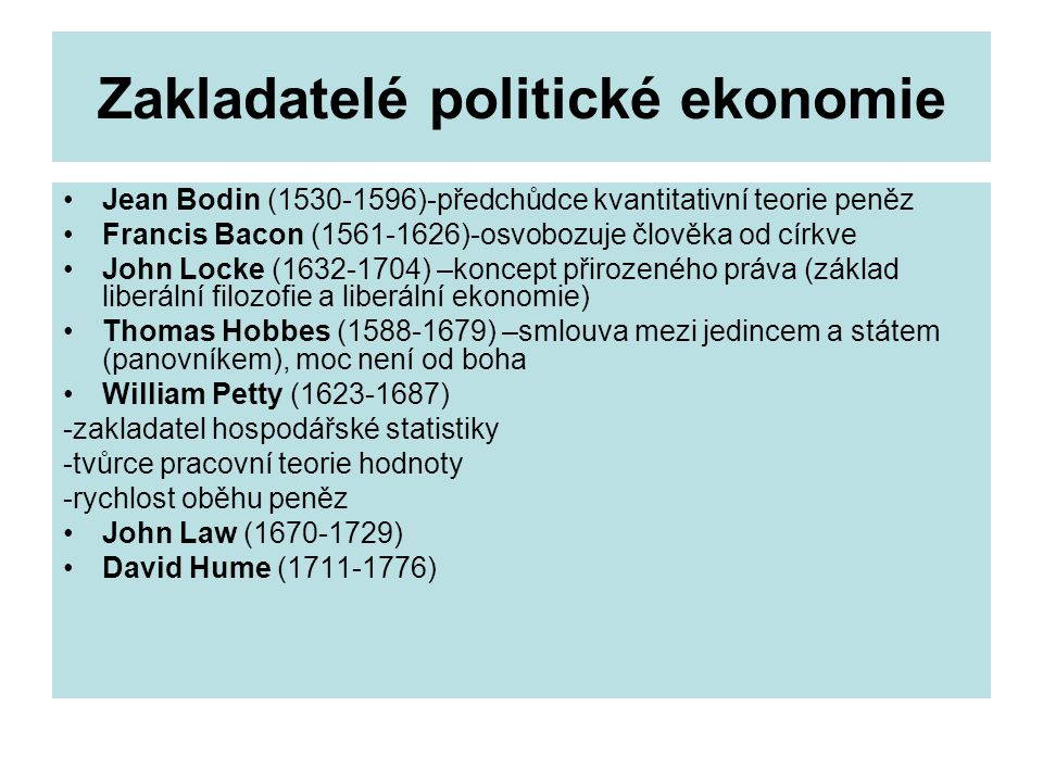 Zakladatelé politické ekonomie