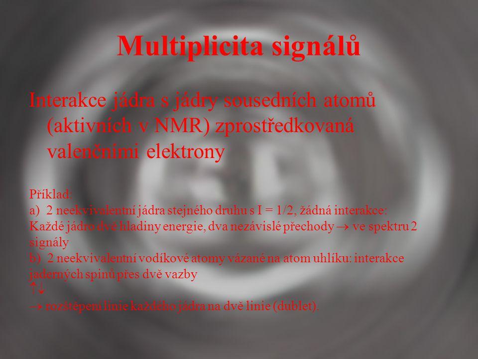 Multiplicita signálů Interakce jádra s jádry sousedních atomů (aktivních v NMR) zprostředkovaná valenčními elektrony.
