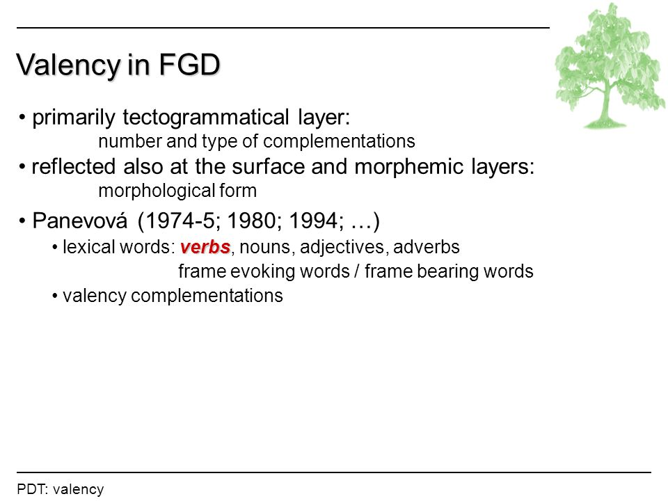 Valency in FGD primarily tectogrammatical layer: