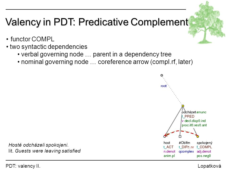 Valency in PDT: Predicative Complement
