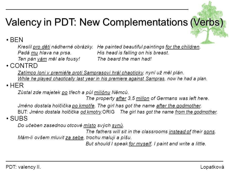 Valency in PDT: New Complementations (Verbs)