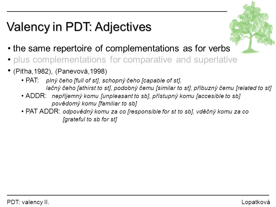 Valency in PDT: Adjectives