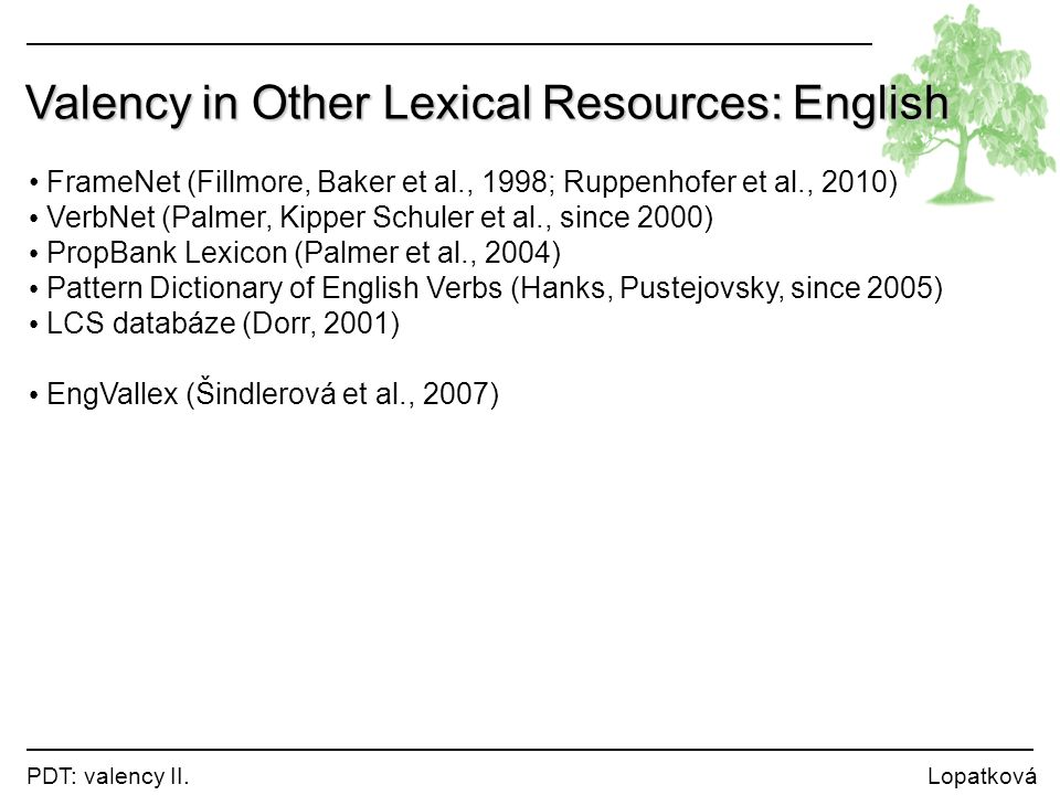 Valency in Other Lexical Resources: English