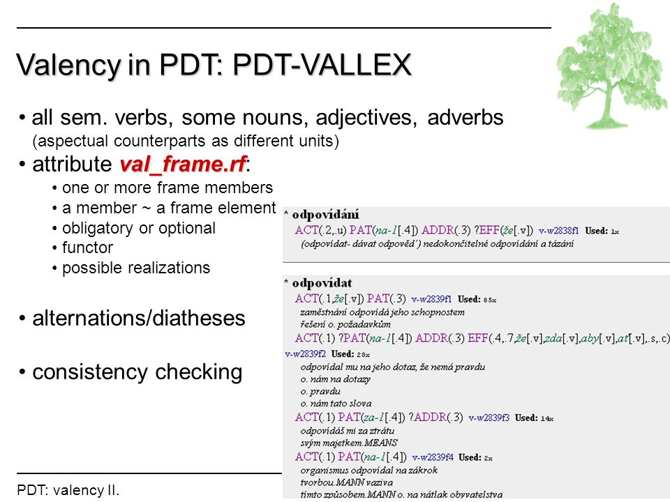 Valency in PDT: PDT-VALLEX