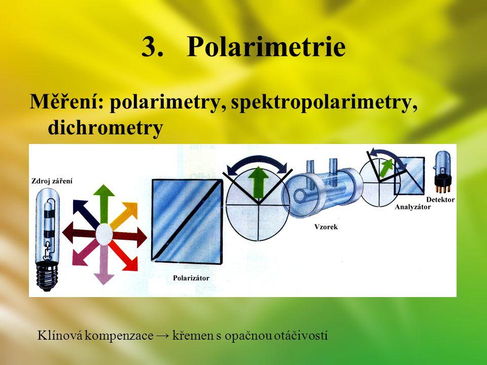 Polarimetrie Měření: polarimetry, spektropolarimetry, dichrometry
