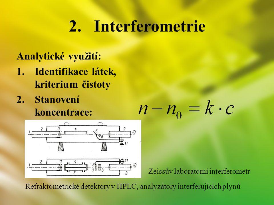 Interferometrie Analytické využití: