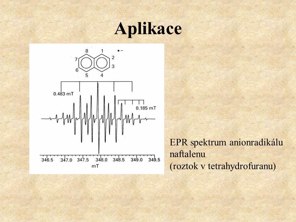 Aplikace EPR spektrum anionradikálu naftalenu