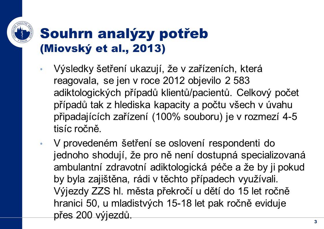Souhrn analýzy potřeb (Miovský et al., 2013)