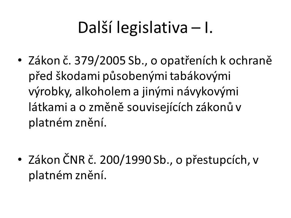 Další legislativa – I.
