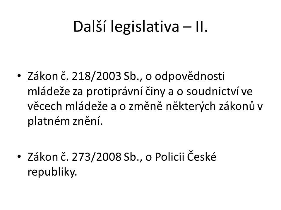 Další legislativa – II.