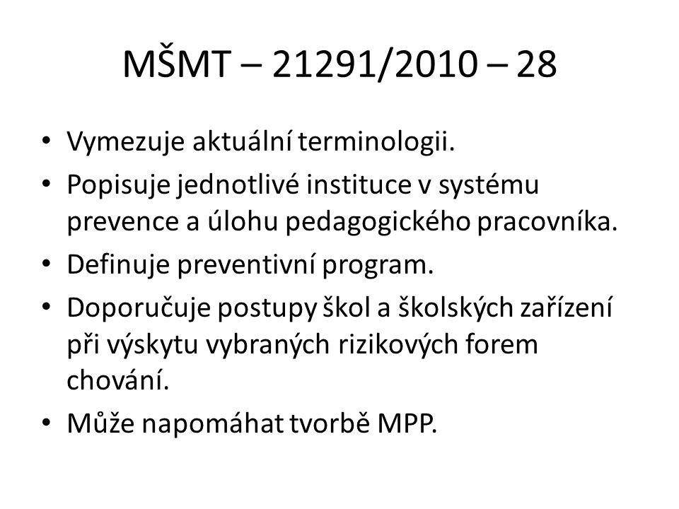 MŠMT – 21291/2010 – 28 Vymezuje aktuální terminologii.