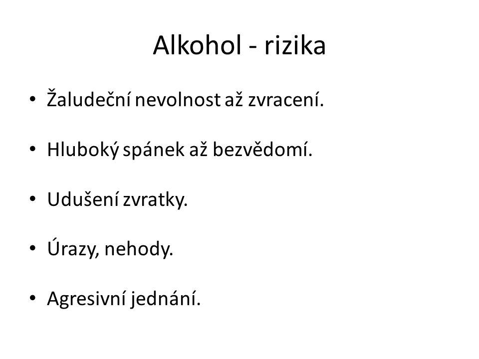 Alkohol - rizika Žaludeční nevolnost až zvracení.