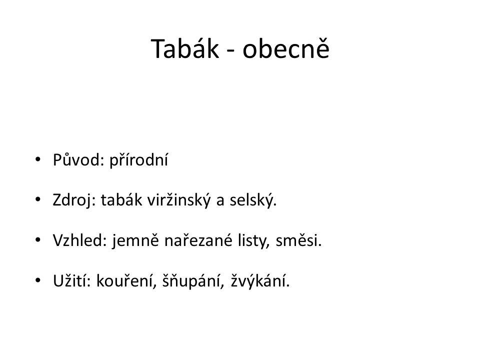 Tabák - obecně Původ: přírodní Zdroj: tabák viržinský a selský.