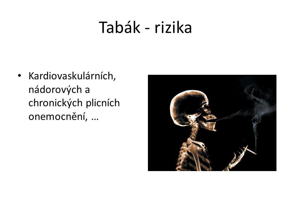 Tabák - rizika Kardiovaskulárních, nádorových a chronických plicních onemocnění, …
