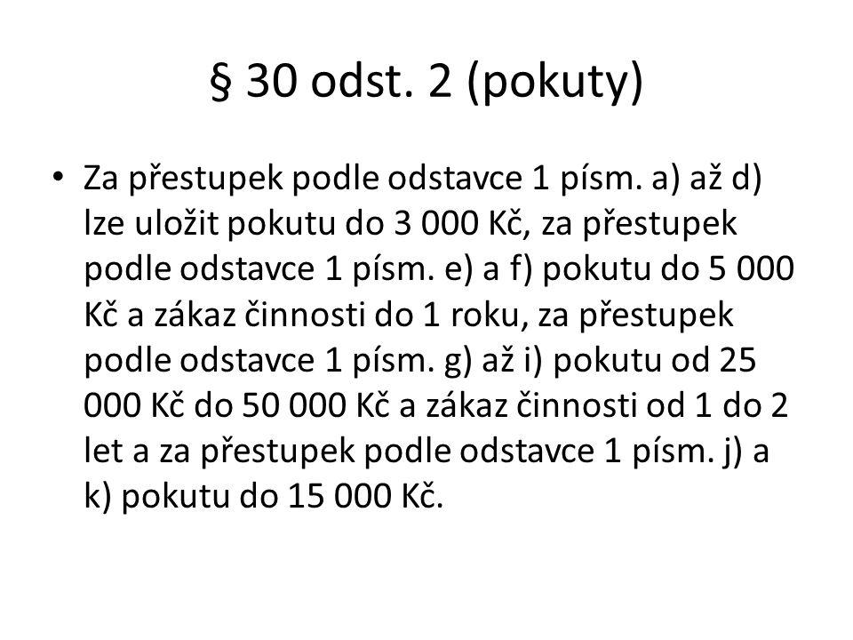 § 30 odst. 2 (pokuty)