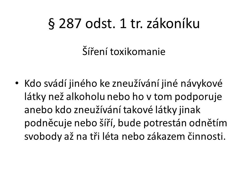 § 287 odst. 1 tr. zákoníku Šíření toxikomanie