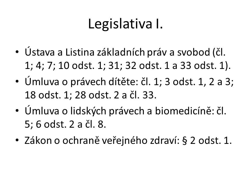 Legislativa I. Ústava a Listina základních práv a svobod (čl. 1; 4; 7; 10 odst. 1; 31; 32 odst. 1 a 33 odst. 1).