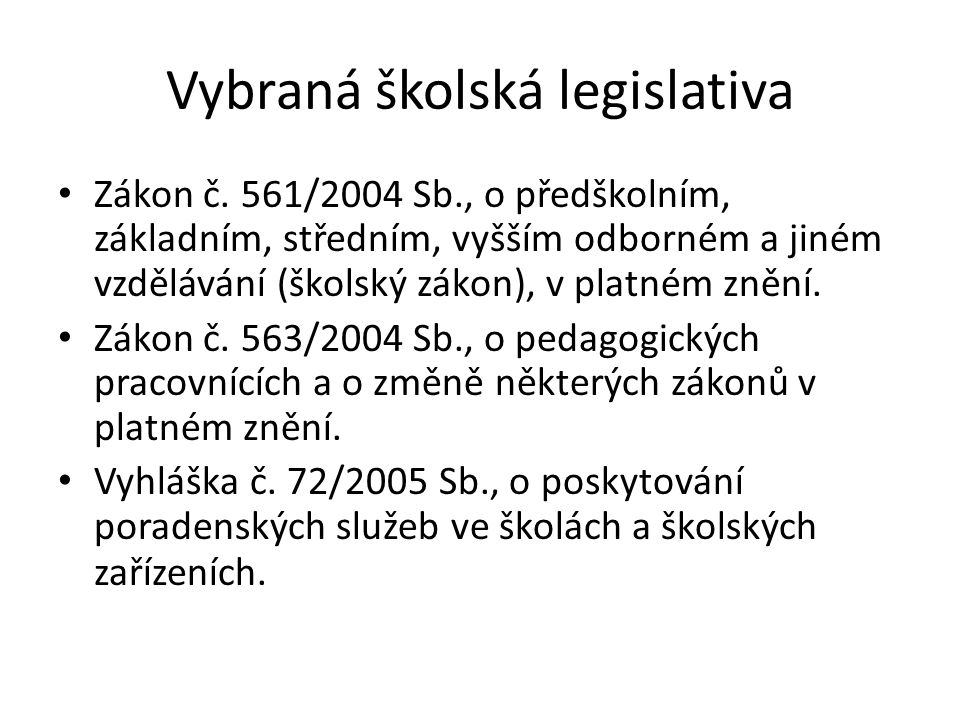 Vybraná školská legislativa