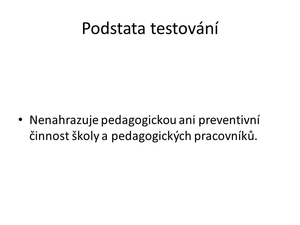 Podstata testování Nenahrazuje pedagogickou ani preventivní činnost školy a pedagogických pracovníků.