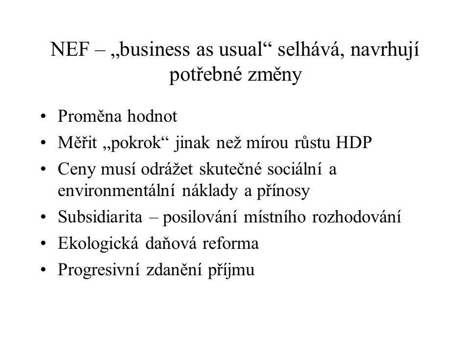 """NEF – """"business as usual selhává, navrhují potřebné změny"""