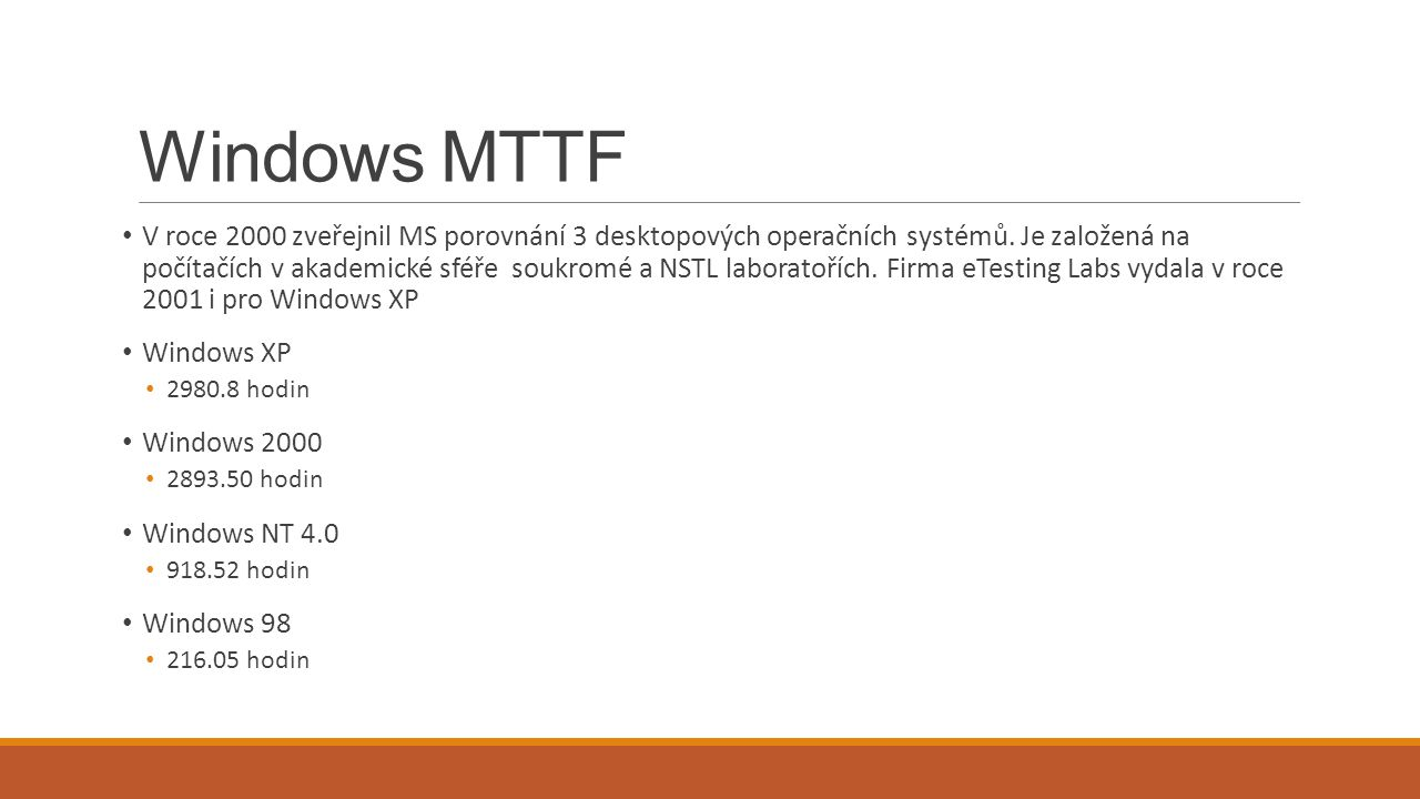 Windows MTTF