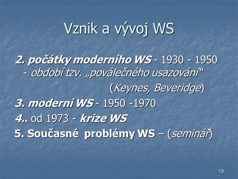 """Vznik a vývoj WS 2. počátky moderního WS - 1930 - 1950 - období tzv. """"poválečného usazování (Keynes, Beveridge)"""