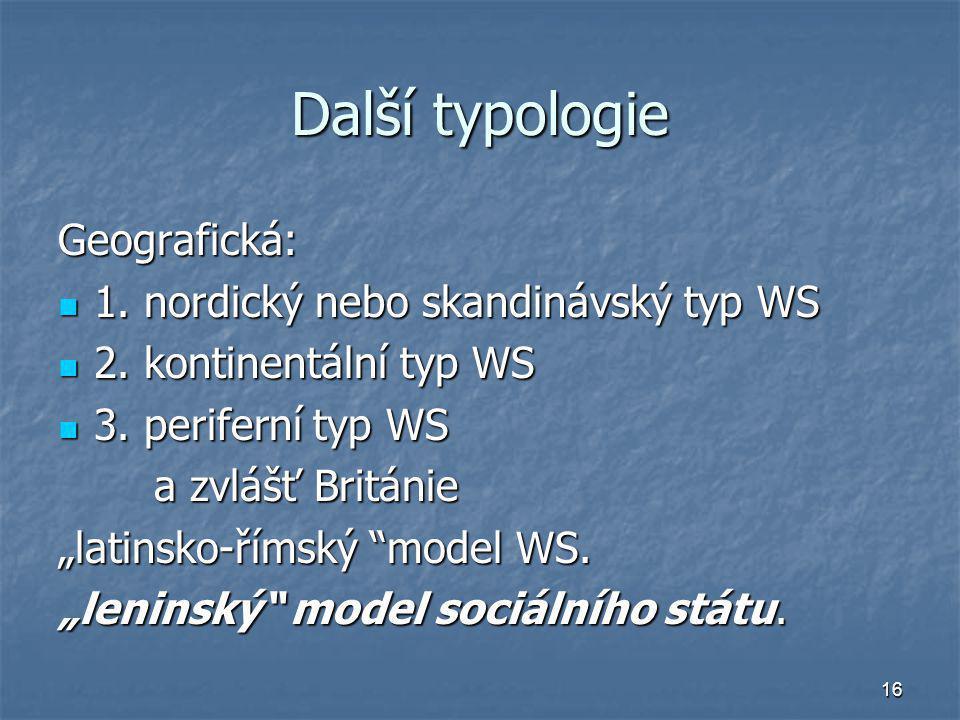 Další typologie Geografická: 1. nordický nebo skandinávský typ WS
