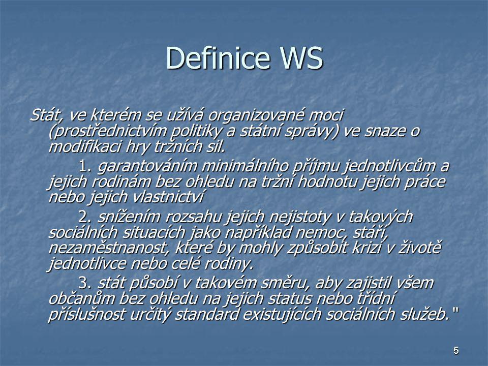 Definice WS Stát, ve kterém se užívá organizované moci (prostřednictvím politiky a státní správy) ve snaze o modifikaci hry tržních sil.