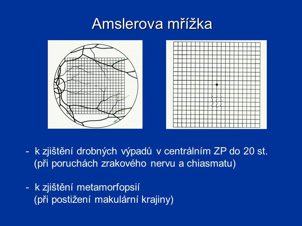Amslerova mřížka k zjištění drobných výpadů v centrálním ZP do 20 st.